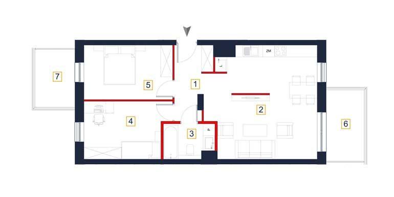 sprzedaż mieszkań rzeszów - rzut mieszkania  a46