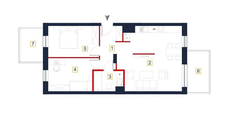 Mieszkanie &#8211; 3 pokoje &#8211; balkon &#8211; 65,93 m<sup>2</sup> &#8211; Rzeszów