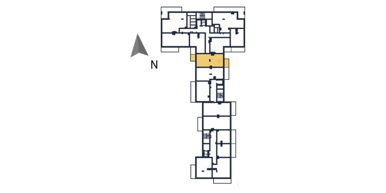 sprzedaż mieszkań rzeszów - rzut kondygnacji z zaznaczonym mieszkaniem  a46