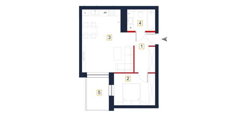 Mieszkanie – 2 pokoje – balkon – 47,91 m<sup>2</sup> – Rzeszów
