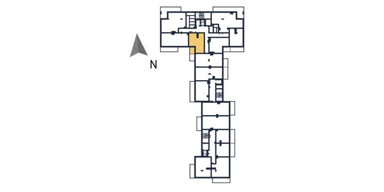 sprzedaż mieszkań rzeszów - rzut kondygnacji z zaznaczonym mieszkaniem  a47