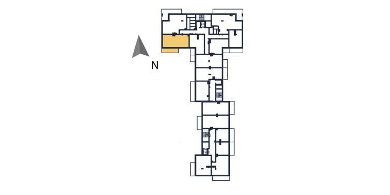 sprzedaż mieszkań rzeszów - rzut kondygnacji z zaznaczonym mieszkaniem  a48