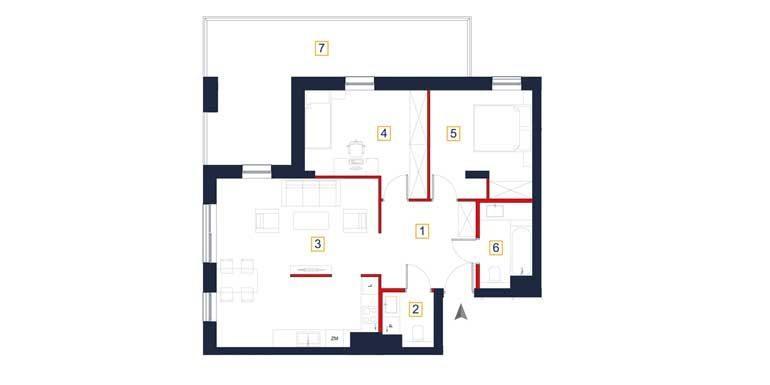 sprzedaż mieszkań rzeszów - rzut mieszkania  a49