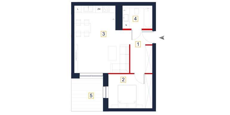 Mieszkanie – 2 pokoje – taras – 47,91 m<sup>2</sup> – Rzeszów