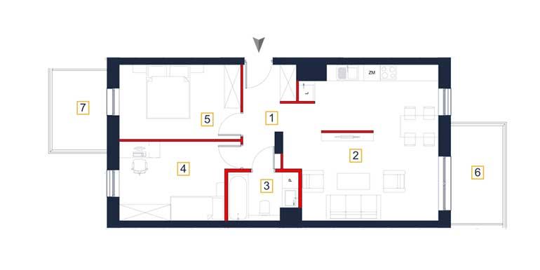 Mieszkanie – 3 pokoje – balkon – 65,89 m<sup>2</sup> – Rzeszów