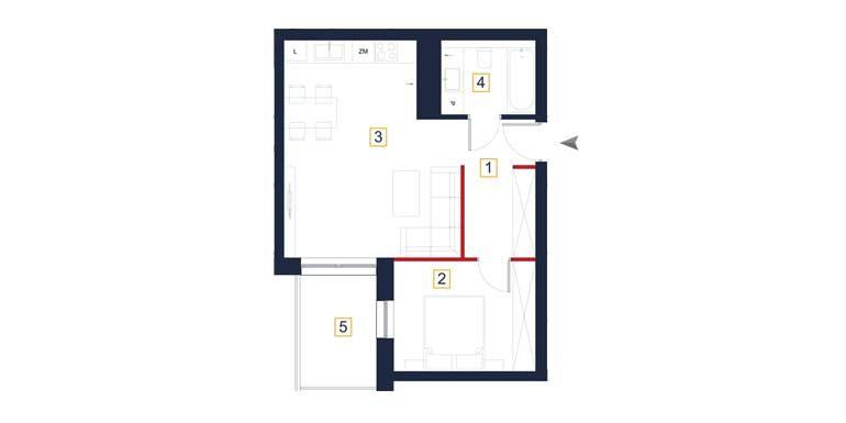 sprzedaż mieszkań rzeszów - rzut mieszkania  a54
