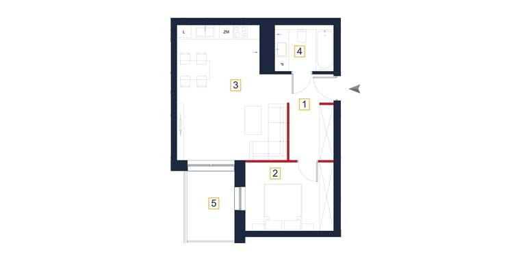 Mieszkanie – 2 pokoje – balkon – 47,82 m<sup>2</sup> – Rzeszów