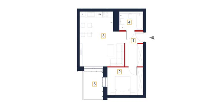 Mieszkanie &#8211; 2 pokoje &#8211; loggia &#8211; 47,82 m<sup>2</sup> &#8211; Rzeszów