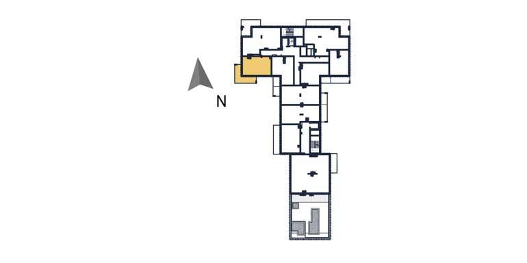 sprzedaż mieszkań rzeszów - rzut kondygnacji z zaznaczonym mieszkaniem  a62