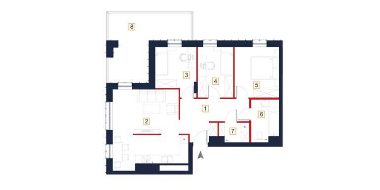Mieszkanie – 4 pokoje – loggia – 77,69 m<sup>2</sup> – Rzeszów