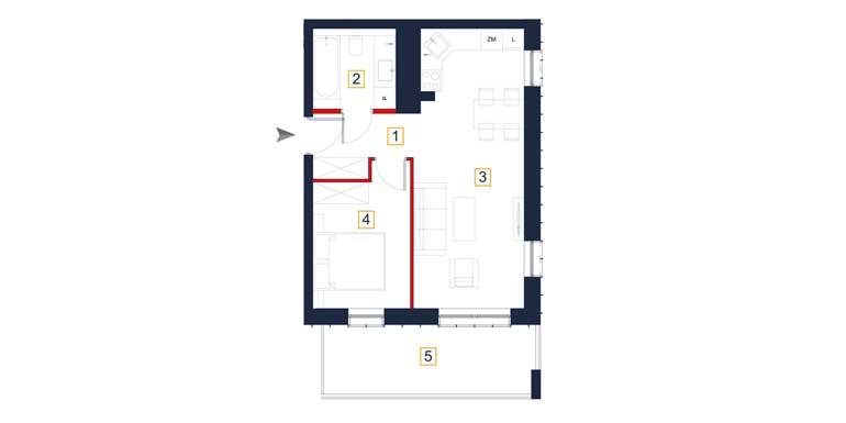 Mieszkanie – 2 pokoje – loggia – 43,32 m<sup>2</sup> – Rzeszów