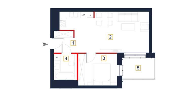 Mieszkanie – 2 pokoje – loggia – 47,37 m<sup>2</sup> – Rzeszów
