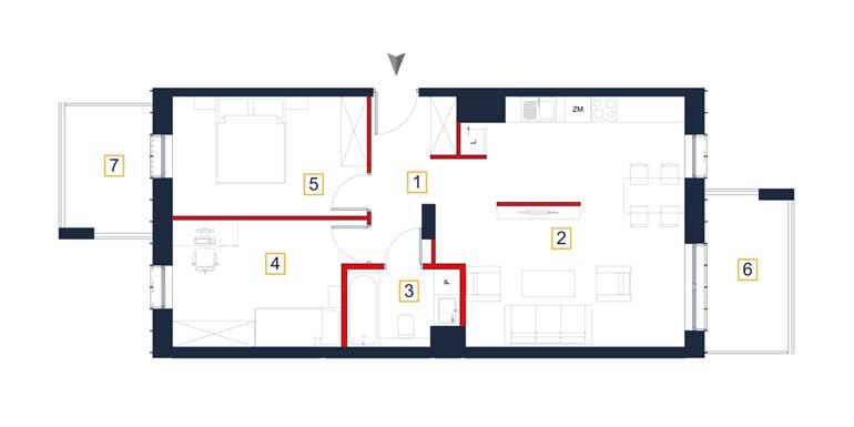 Mieszkanie – 3 pokoje – 2 x loggia – 65,89 m<sup>2</sup> – Rzeszów