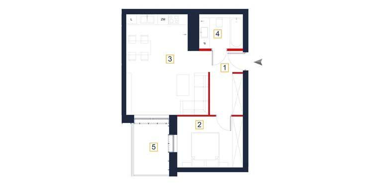 sprzedaż mieszkań rzeszów - rzut mieszkania  a68