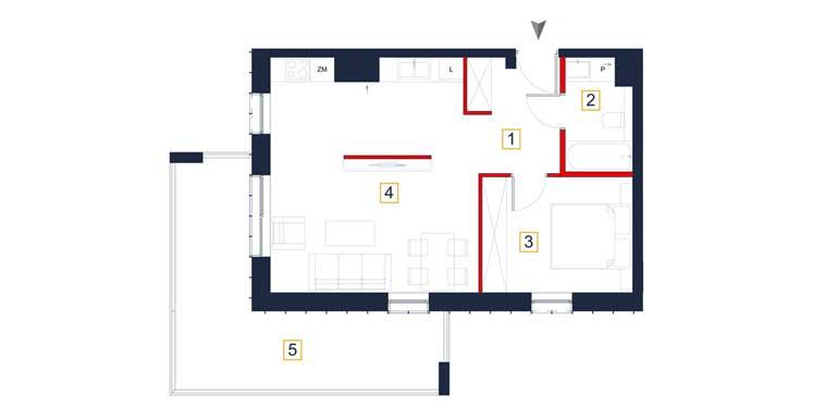 Mieszkanie &#8211; 2 pokoje &#8211; loggia &#8211; 49,55 m<sup>2</sup> &#8211; Rzeszów