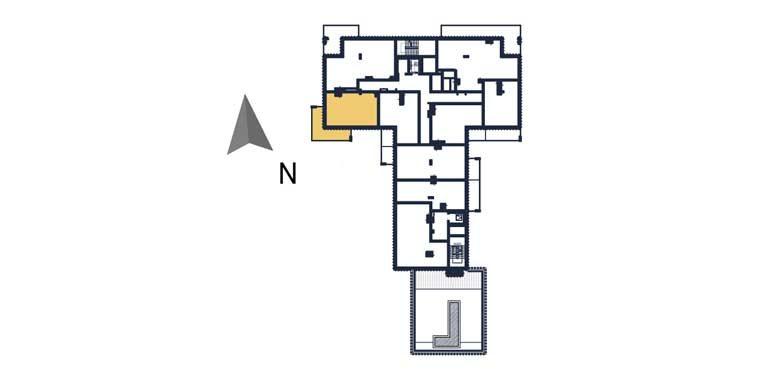 sprzedaż mieszkań rzeszów - rzut kondygnacji z zaznaczonym mieszkaniem  a69