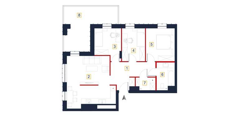 Mieszkanie &#8211; 4 pokoje &#8211; loggia &#8211; 77,64 m<sup>2</sup> &#8211; Rzeszów