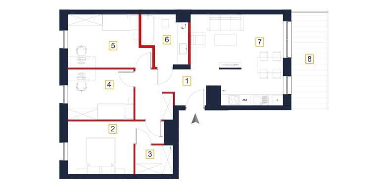 mieszkania na sprzedaż rzeszów - rzut mieszkania a74