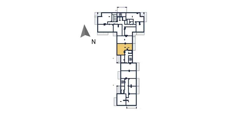 mieszkania na sprzedaż rzeszów - rzut kondygnacji z zaznaczonym mieszkaniem a74