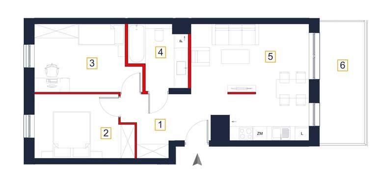 nowe mieszkania rzeszów - rzut mieszkania a78