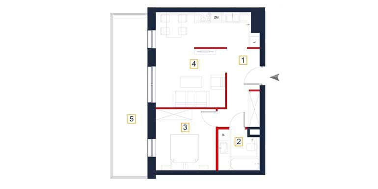 deweloperskie mieszkania rzeszów - rzut mieszkania  a80