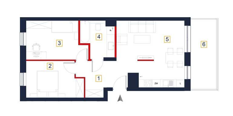 sprzedaż mieszkań rzeszów - rzut mieszkania  a84