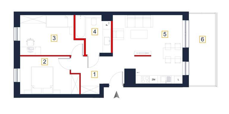Mieszkanie – 3 pokoje – balkon – 61,14 m<sup>2</sup> – Rzeszów