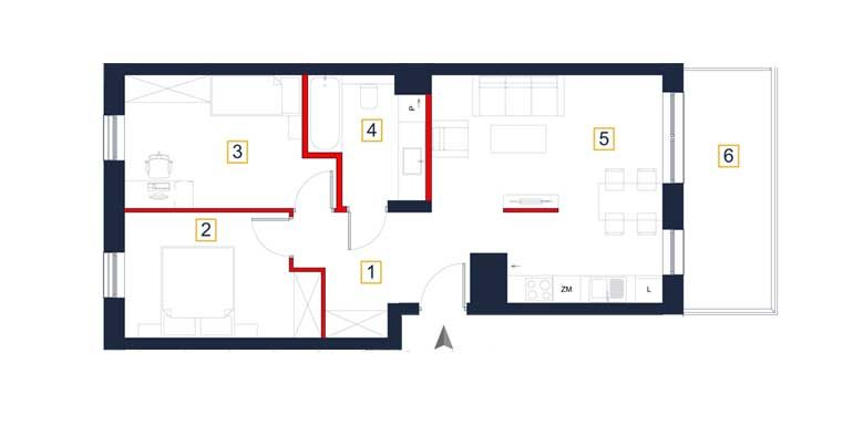 sprzedaż mieszkań rzeszów - rzut mieszkania  a90