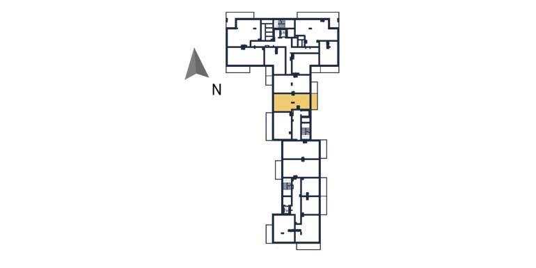 sprzedaż mieszkań rzeszów - rzut kondygnacji z zaznaczonym mieszkaniem  a90