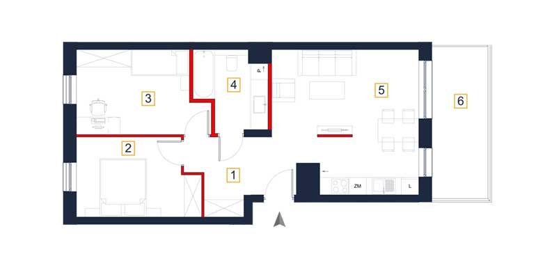 Mieszkanie – 3 pokoje – balkon – 61,10 m<sup>2</sup> – Rzeszów