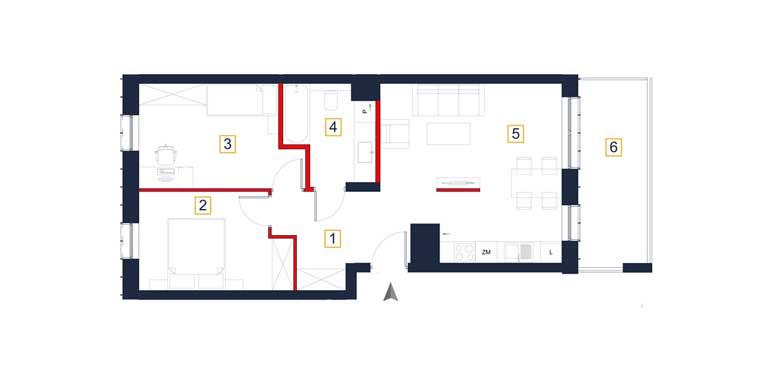 Mieszkanie &#8211; 3 pokoje &#8211; loggia &#8211; 61,11 m<sup>2</sup> &#8211; Rzeszów