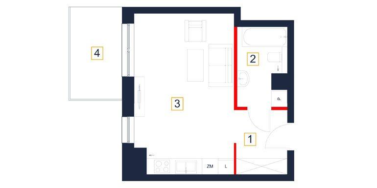mieszkania rzeszów - rzut mieszkania  b101-m