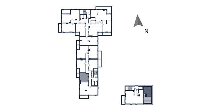 mieszkania rzeszów - rzut kondygnacji z zaznaczonym mieszkaniem  b101-rzut