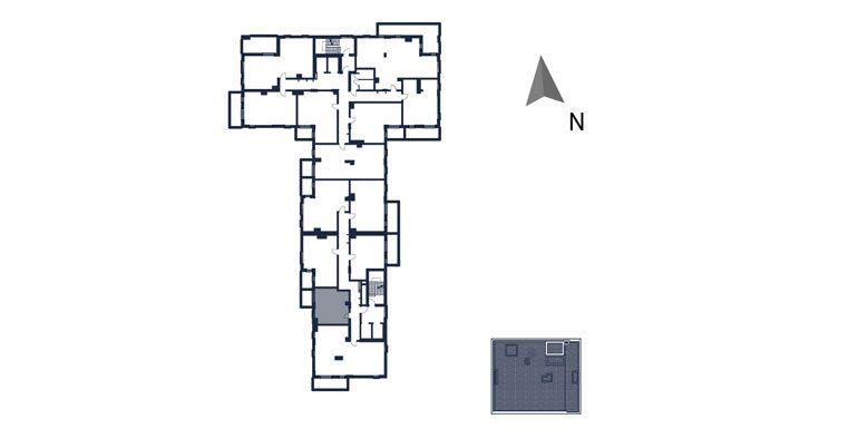 mieszkania rzeszów - rzut kondygnacji z zaznaczonym mieszkaniem  b107-rzut