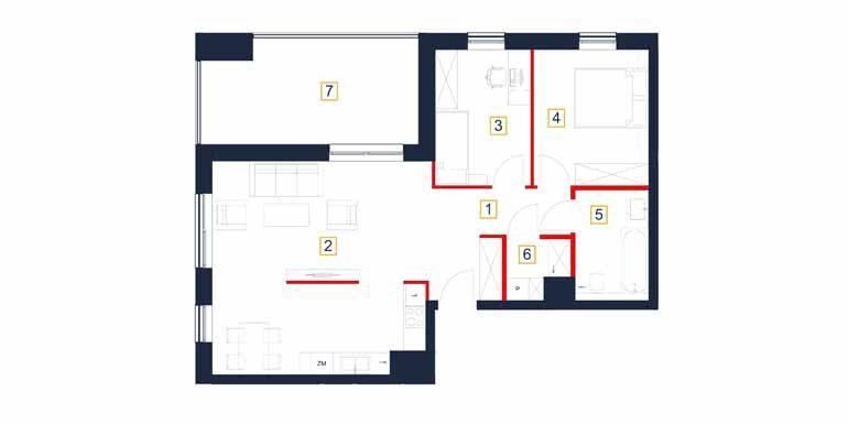 deweloperskie mieszkania rzeszów - rzut mieszkania  b11-m