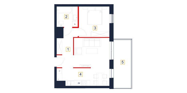 mieszkania rzeszów - rzut mieszkania  b110-m