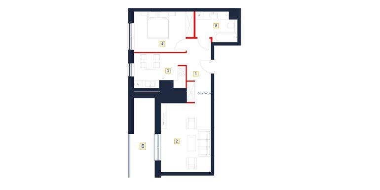 mieszkania rzeszów - rzut mieszkania  b113-m