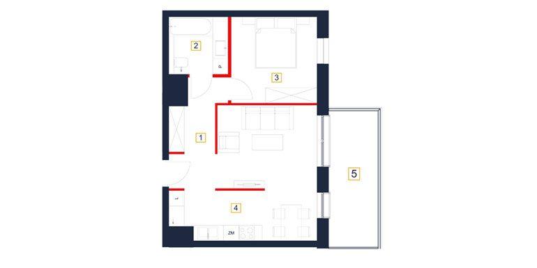 mieszkania rzeszów - rzut mieszkania  b114-m