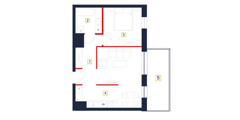 Mieszkanie – 2 pokój – loggia- 48,27 m<sup>2</sup> – Rzeszów