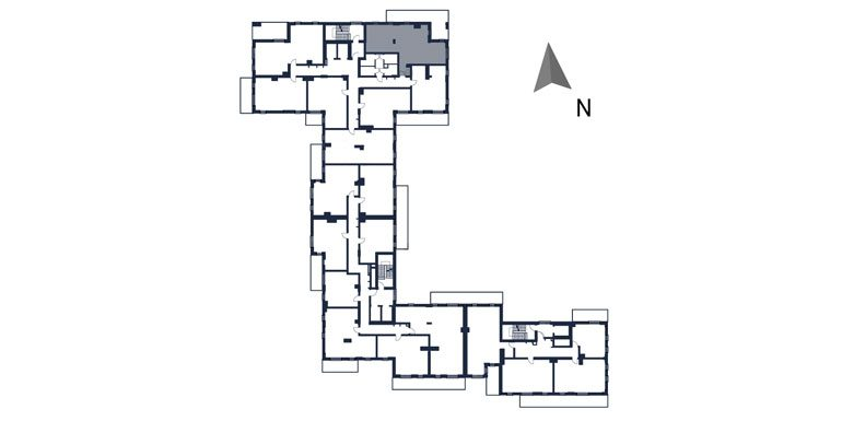 deweloperskie mieszkania rzeszów - rzut kondygnacji z zaznaczonym mieszkaniem  b12-rzut