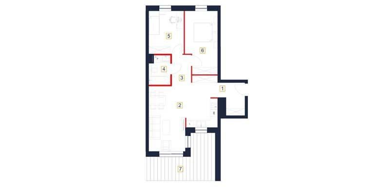 deweloperskie mieszkania rzeszów - rzut mieszkania  b120-m