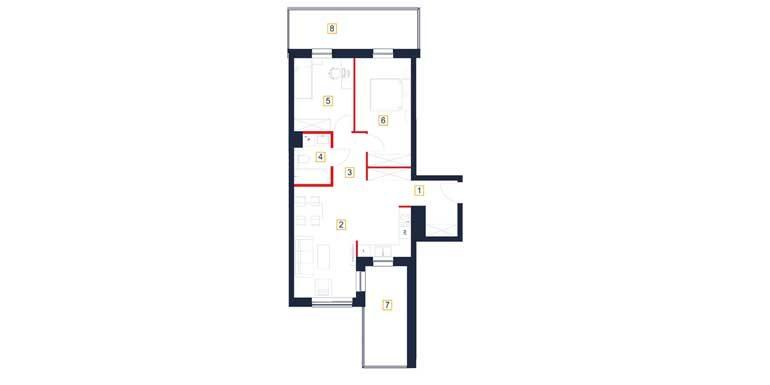 sprzedaż mieszkań rzeszów - rzut mieszkania  b124-m