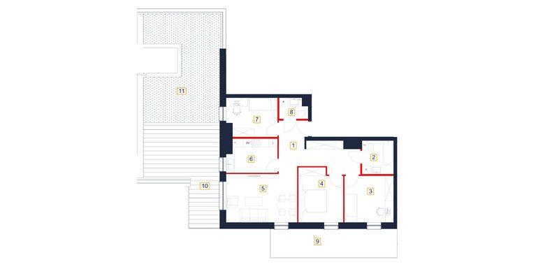 deweloperskie mieszkania rzeszów - rzut mieszkania  b134-m