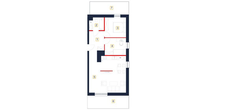 mieszkania rzeszów - rzut mieszkania  b135-m