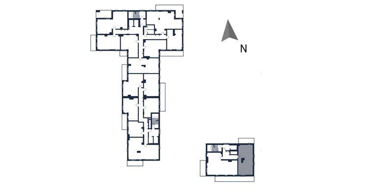 mieszkania rzeszów - rzut kondygnacji z zaznaczonym mieszkaniem  b135-rzut