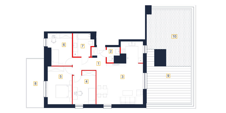Mieszkanie – 4 pokój – taras- 90,72 m<sup>2</sup> – Rzeszów