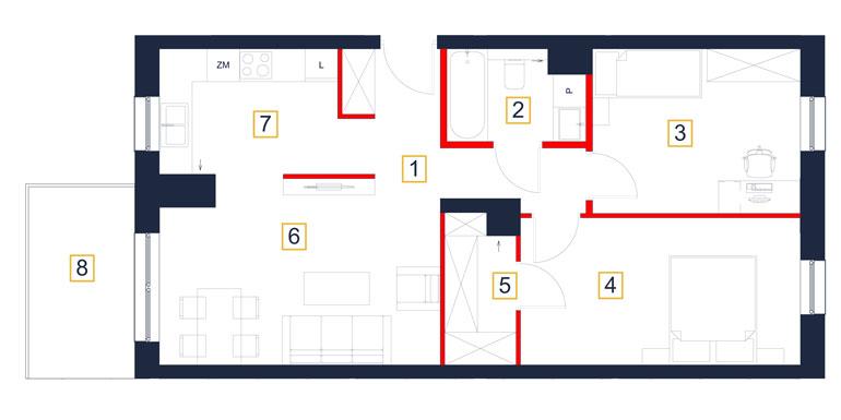 Mieszkanie – 3 pokój – balkon – 66,08 m<sup>2</sup> – Rzeszów