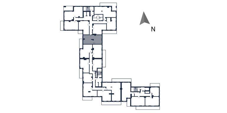 deweloperskie mieszkania rzeszów - rzut kondygnacji z zaznaczonym mieszkaniem  b15-rzut