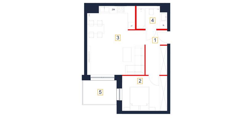 Mieszkanie – 3 pokój – balkon – 48,28 m<sup>2</sup> – Rzeszów