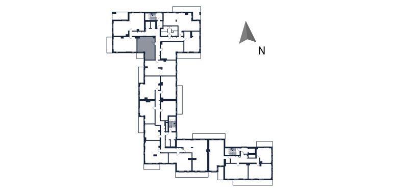 deweloperskie mieszkania rzeszów - rzut kondygnacji z zaznaczonym mieszkaniem  b16-rzut